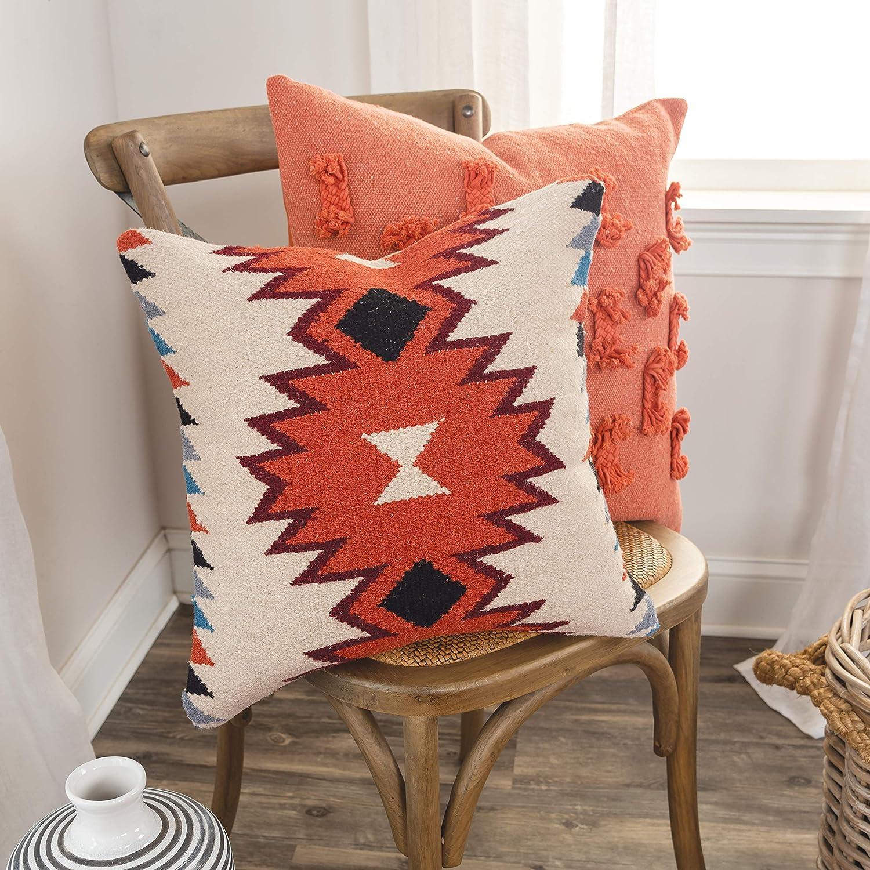 Amazon.com: Rizzy Home - Almohada decorativa, Anaranjado, 18 ...