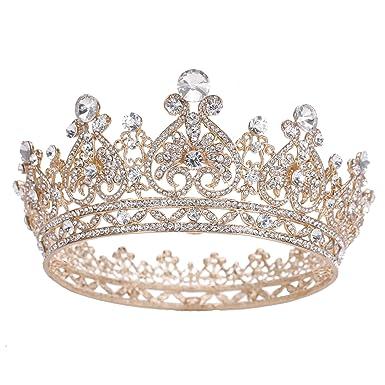 amazon com stuff rhinestones crystal round crown wedding tiaras and