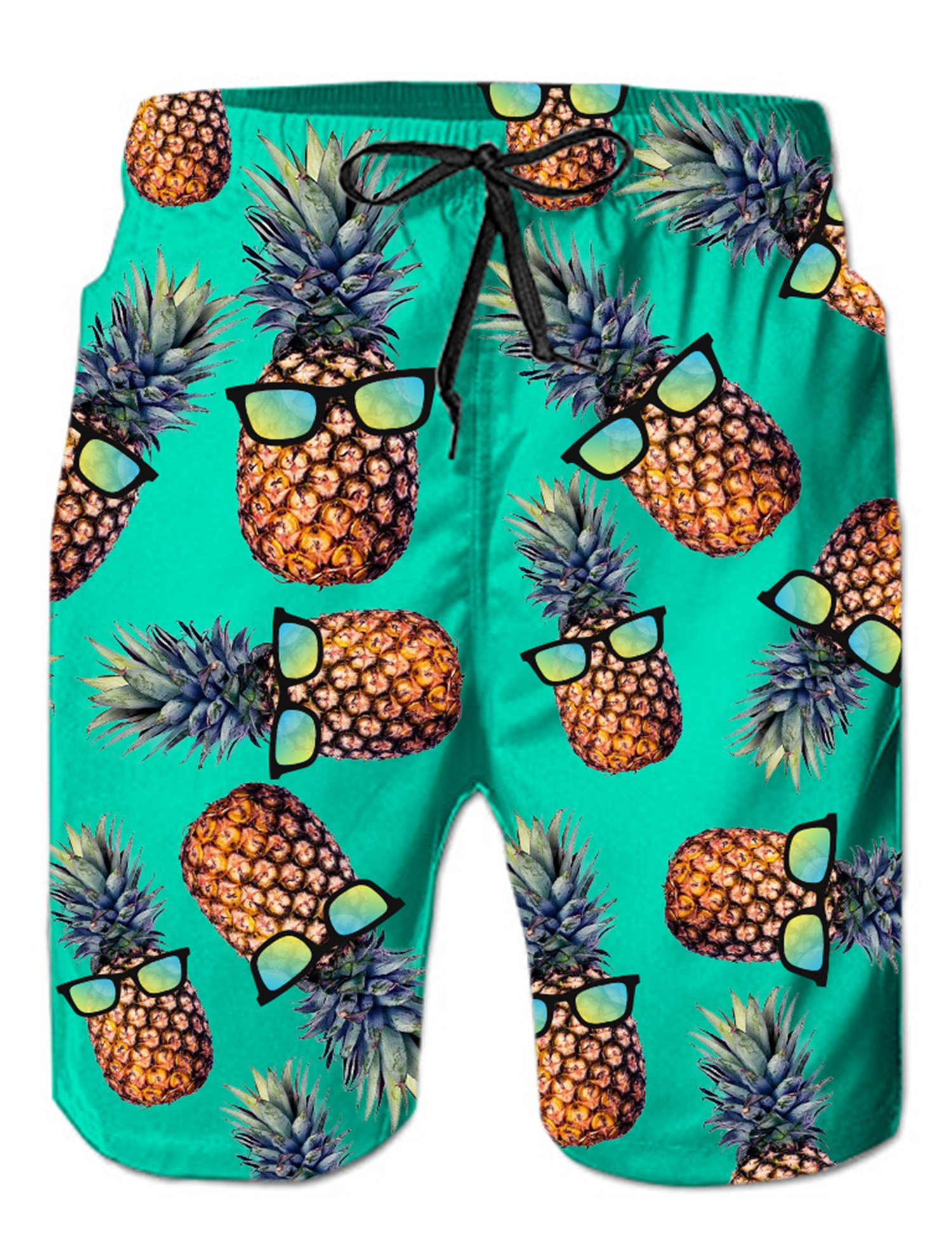 Loveternal Adult Mens 3D Print Graphic Swimming Trunks Loose Fit Funky Pineapple Bathing Suits with Drawstring Polyester Tropical Swimsuits Male Soft Quick Dry Beach Shorts Blue Green L by Loveternal