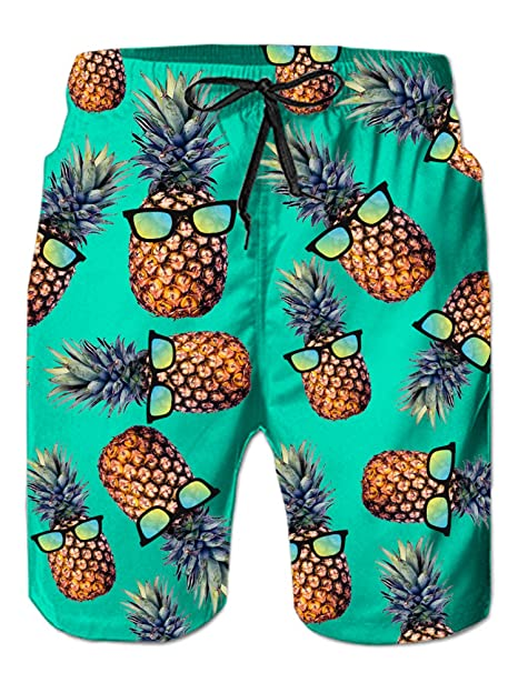 04730d0b2e Loveternal Mens Boardshorts Summer Beach Board Shorts Pineapple Black Swimshorts  with Side Pockets Blue 3XL: Amazon.co.uk: Clothing