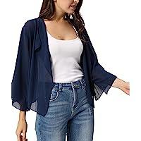 Kate Kasin Women Cardigans 3/4 Sleeve Sheer Shrug Cropped Bolero Cardigan KK913