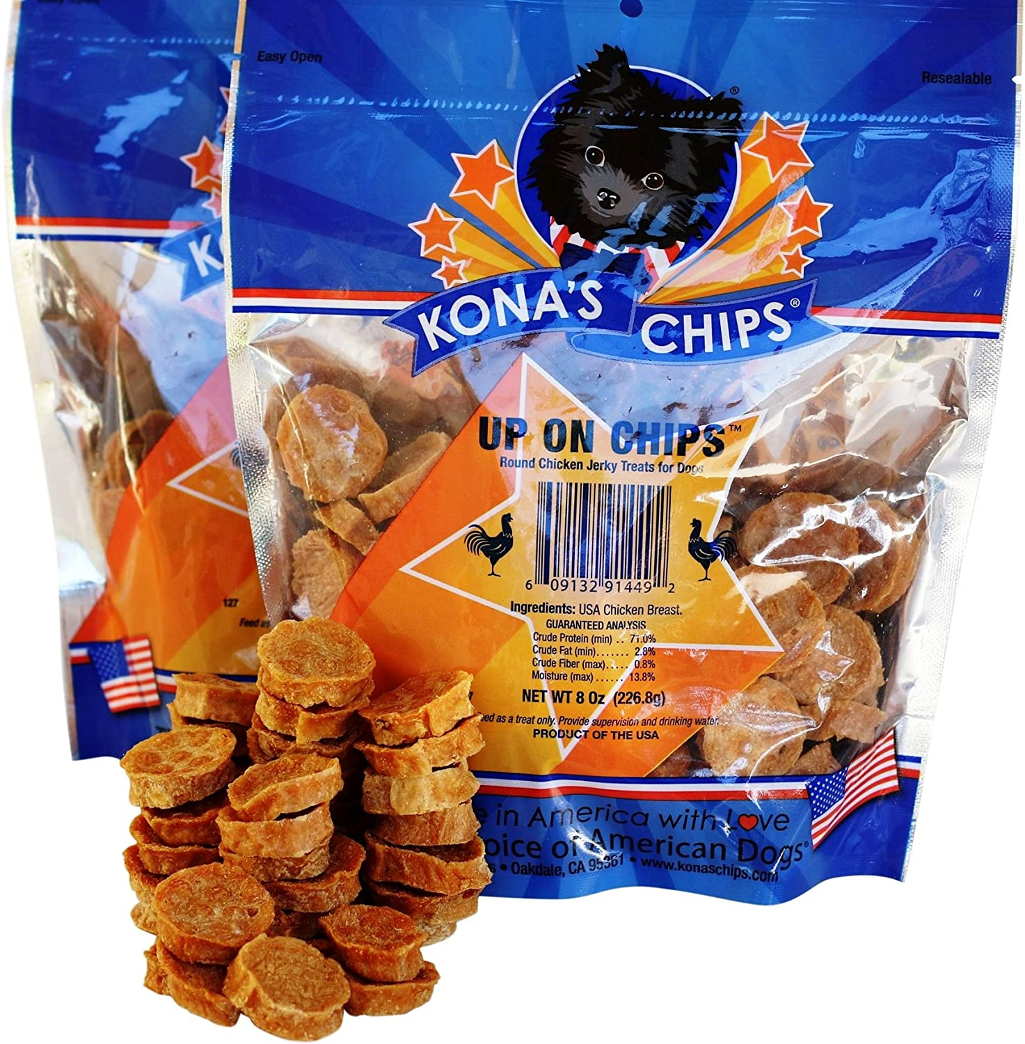 KONA S CHIPS Up On Chips Round Chicken Jerky for Dogs