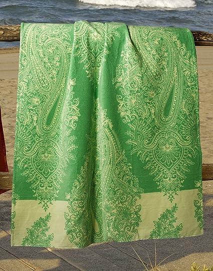 Toalla Playa Elba verde cm.90 x 180 colección Bassetti Grandfoulard – Esponja cimata de