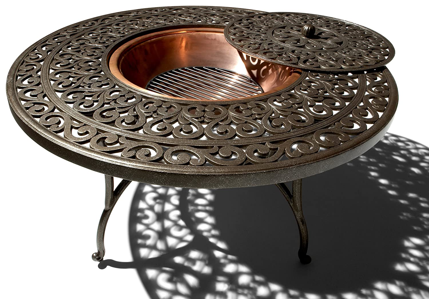 Amazon.com: Strathwood St. Thomas Cast Aluminum Fire Pit With Table: Garden  U0026 Outdoor