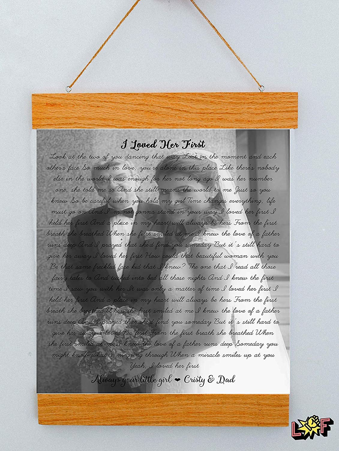 Birthday Gift for Dad from Daughter - Your Photo and Lyrics - Perfect Gifts  for Dad
