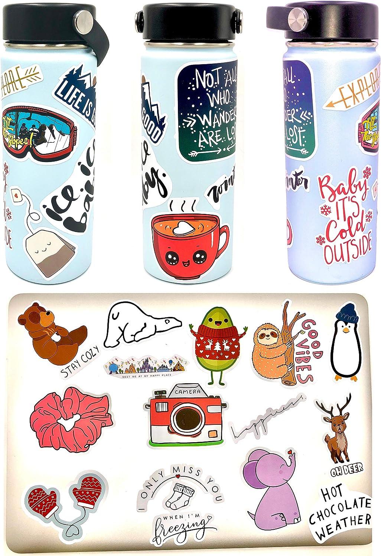 Vsco Stickers 50 Pack I Cute Stickers Waterproof 100% Vinyl Stickers I Vsco Girls Stuff, Aesthetic Stickers, Vsco Stickers for Water Bottle, Laptop Stickers, Cellphone (50 Pack, Winter VSCO Stickers)