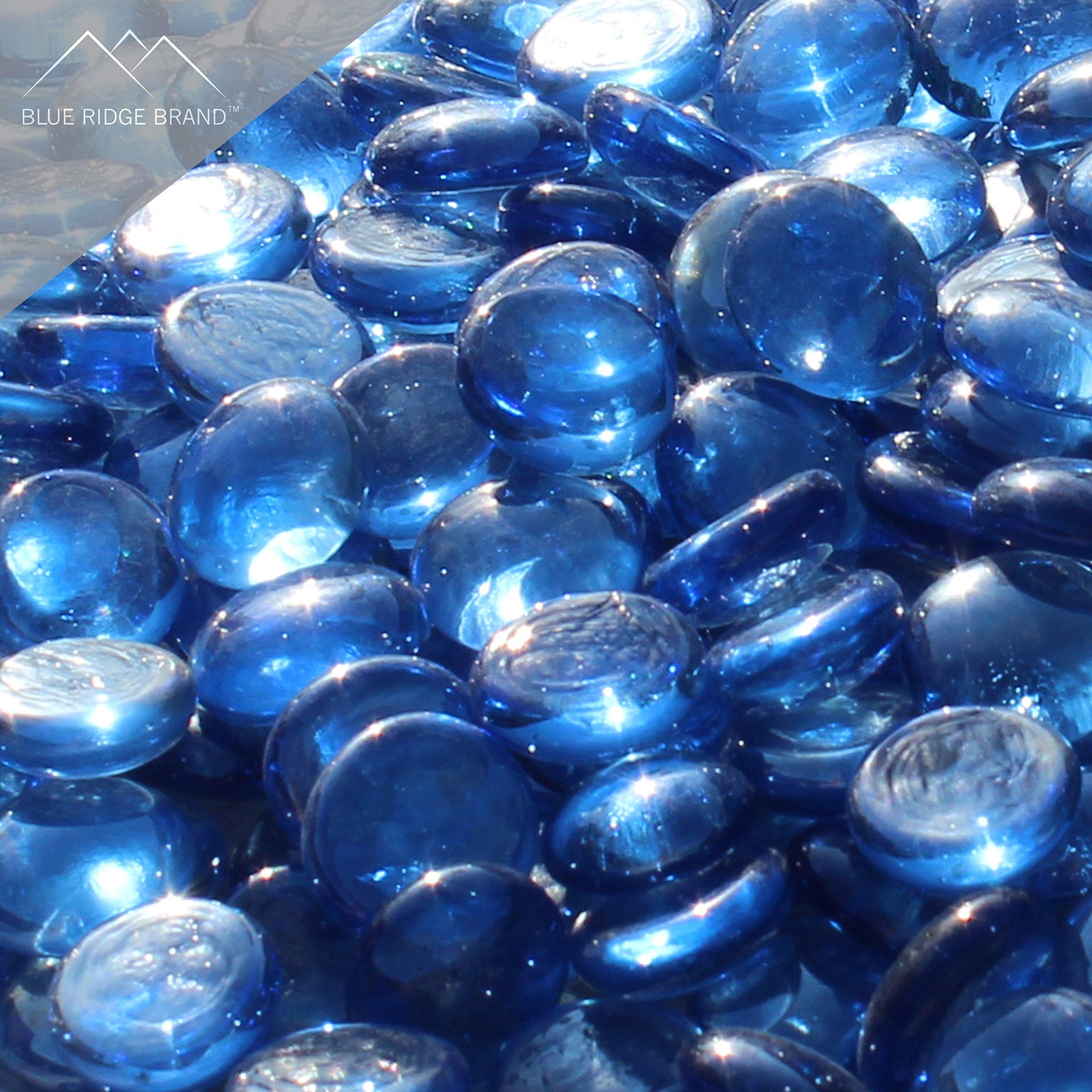 Blue Ridge Brand trade; Light Blue Reflective Fire Glass Beads - 5-Pound Professional Grade Fire Pit Glass - 3/4 Reflective Glass for Fire Pit and Landscaping by Blue Ridge Brand