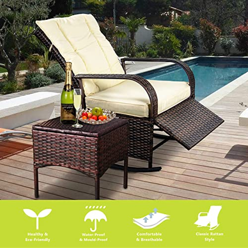 Indoor Outdoor Reclining Chair-Porch Garden Lawn Deck Wicker Rocke Chair-Auto Adjustable Rattan Sofa w/Cushion Beige-White Cushion