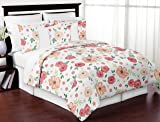 Sweet Jojo Designs Gold and White Polka Dot Pleated Queen Bed Skirt Dust Ruffle for Watercolor Floral Collection