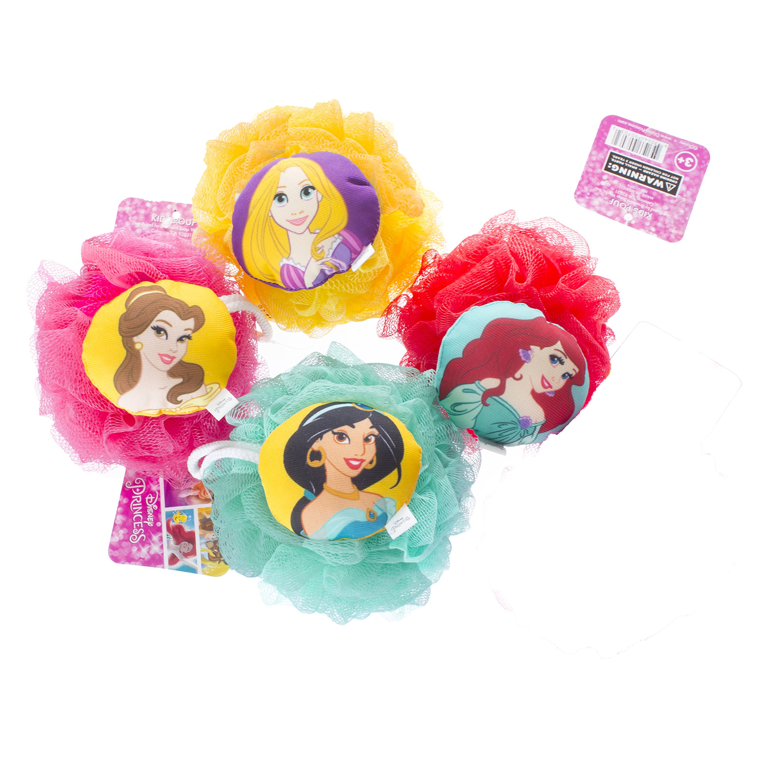 Disney Princess Childrens Large Shower Sponge Pouf (4 Pack) - Bath Loofah Luffa Loufa - Mesh Back and Body Scrubber - Exfoliate, Cleanse and Soothe Skin - Fun Kids Set for Boys and Girls