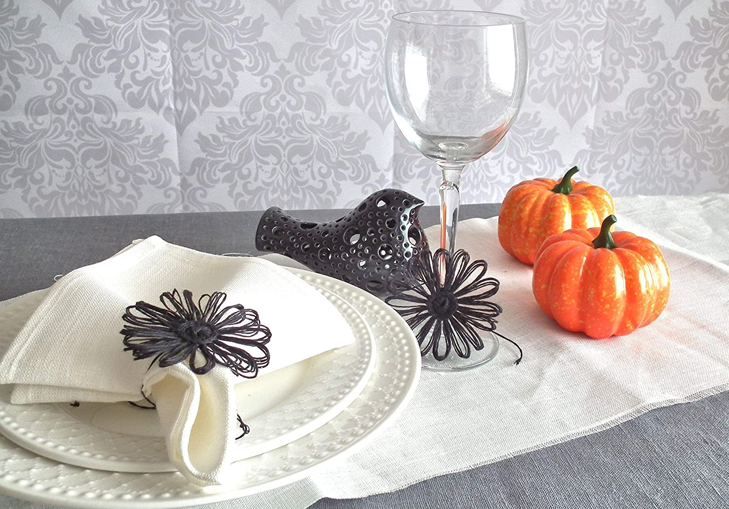 Orange Linen Flower For Tables Decor Handmade Black Napkin Rings for Halloween Set of 10, 12, 20, 30 pcs