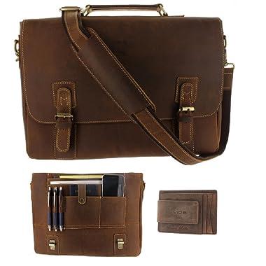 Viosi Mens RFID Leather Messenger Bag / 16 Inch Laptop Briefcase Shoulder Satchel Bag/RFID Money Clip Included