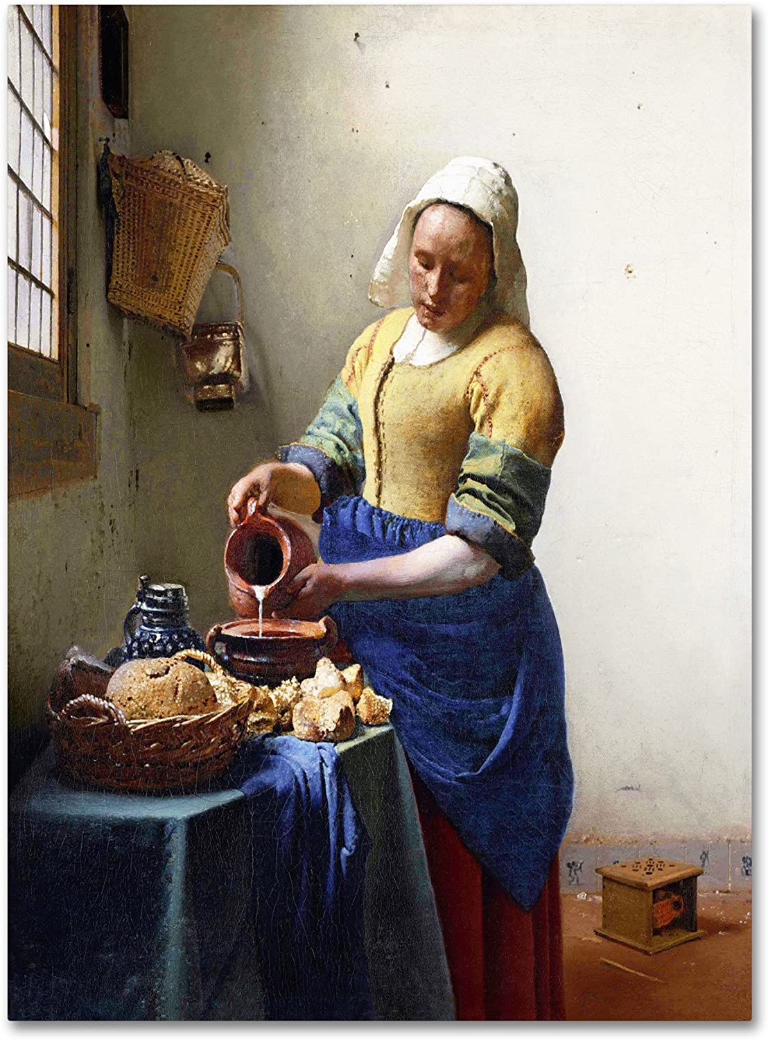 The Milkmaid 1658-60 Artwork by Jan Vermeer, 18 by 24-Inch Canvas Wall Art