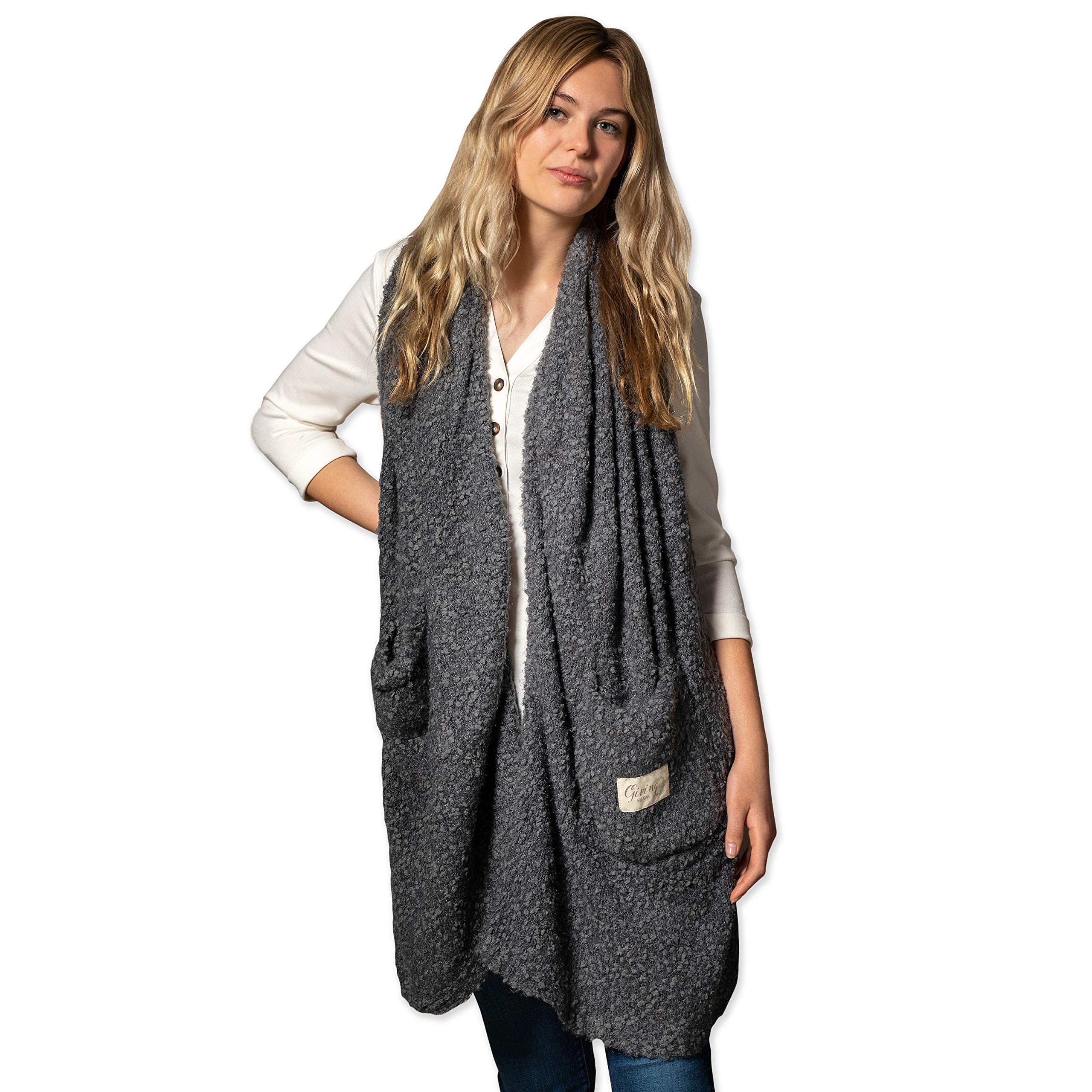 Women's One Size Soft Knit Nylon Giving Shawl Wrap in Gift Box
