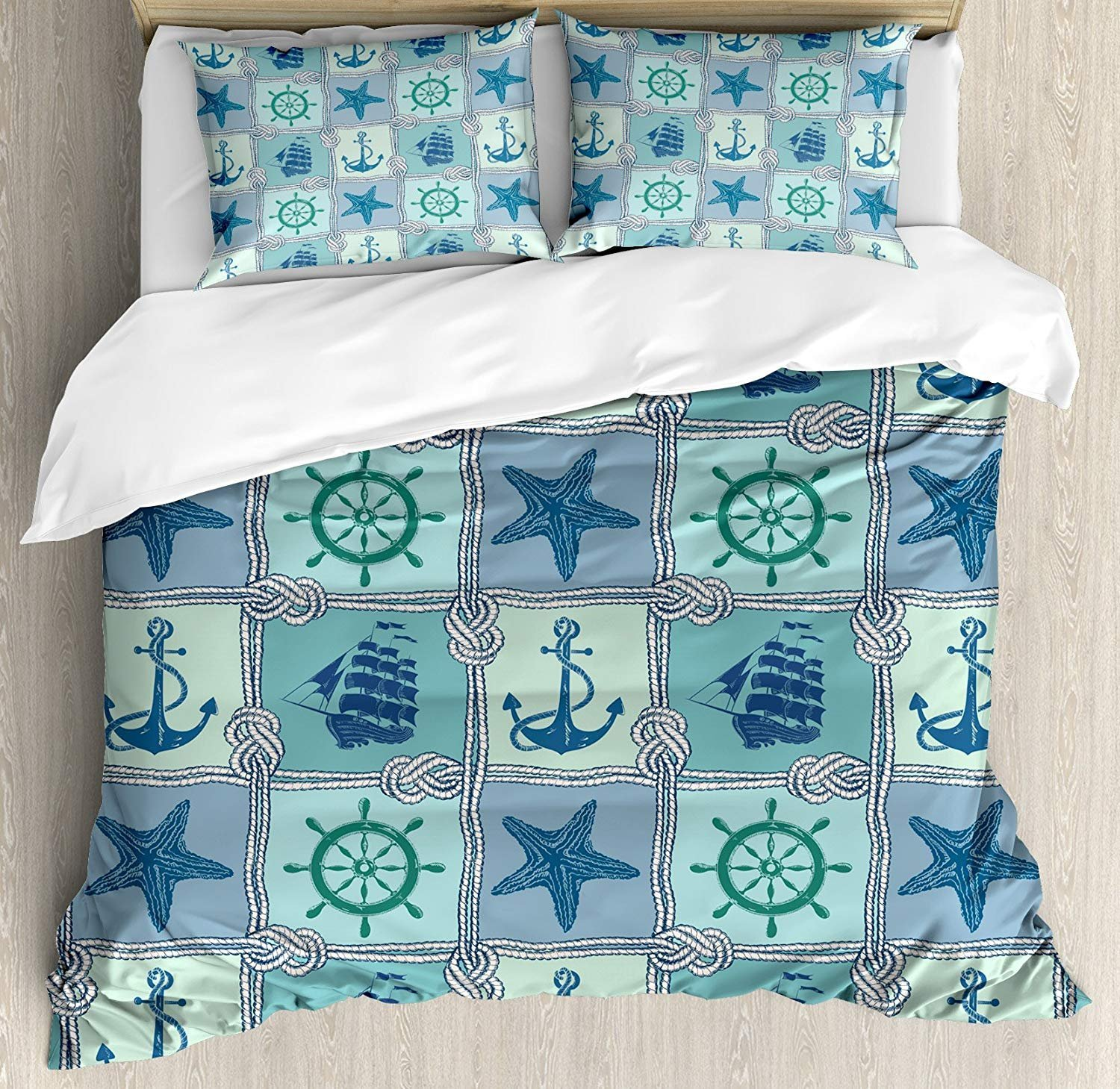 Infinidesign Ships Wheel Lightweight Microfiber Duvet Cover Set Twin Size, Nautical Patchwork Pattern with Rope Starfish Sailing Ship Anchor and Wheel, 4 Piece Bedding Set, Turquoise Navy