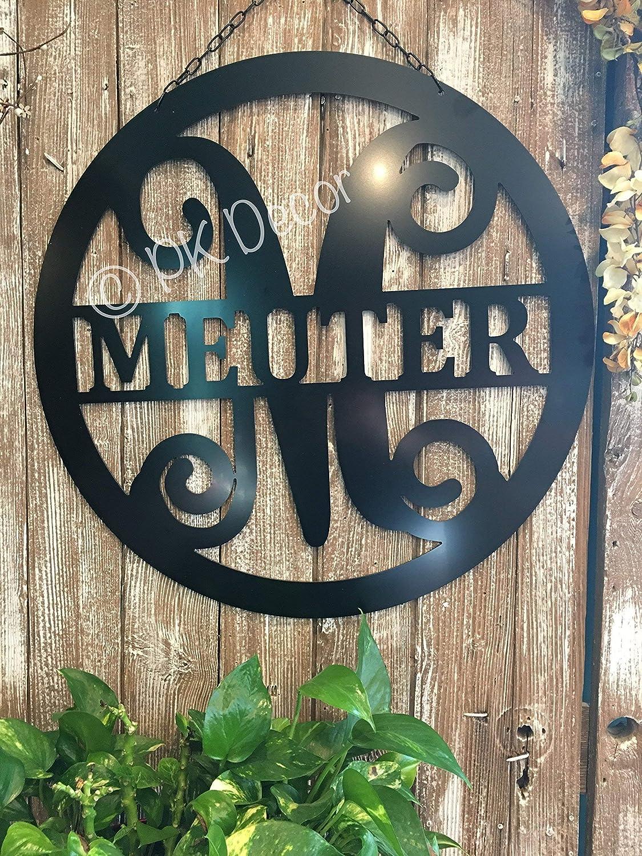 Split Letter Monogram Initial Last Name Sign ACM Metal Customized Front Door Decor QUICK SHIP -24 in