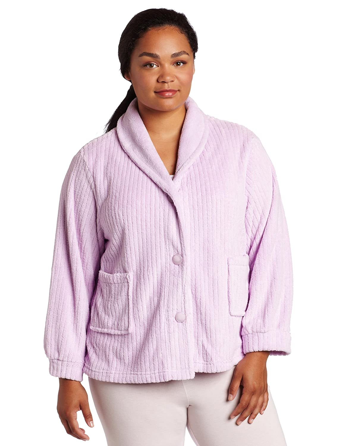 798e99f2759e8 Casual Moments Women s Plus Size Shawl Collar Bed Jacket at Amazon Women s  Clothing store  Pajama Tops