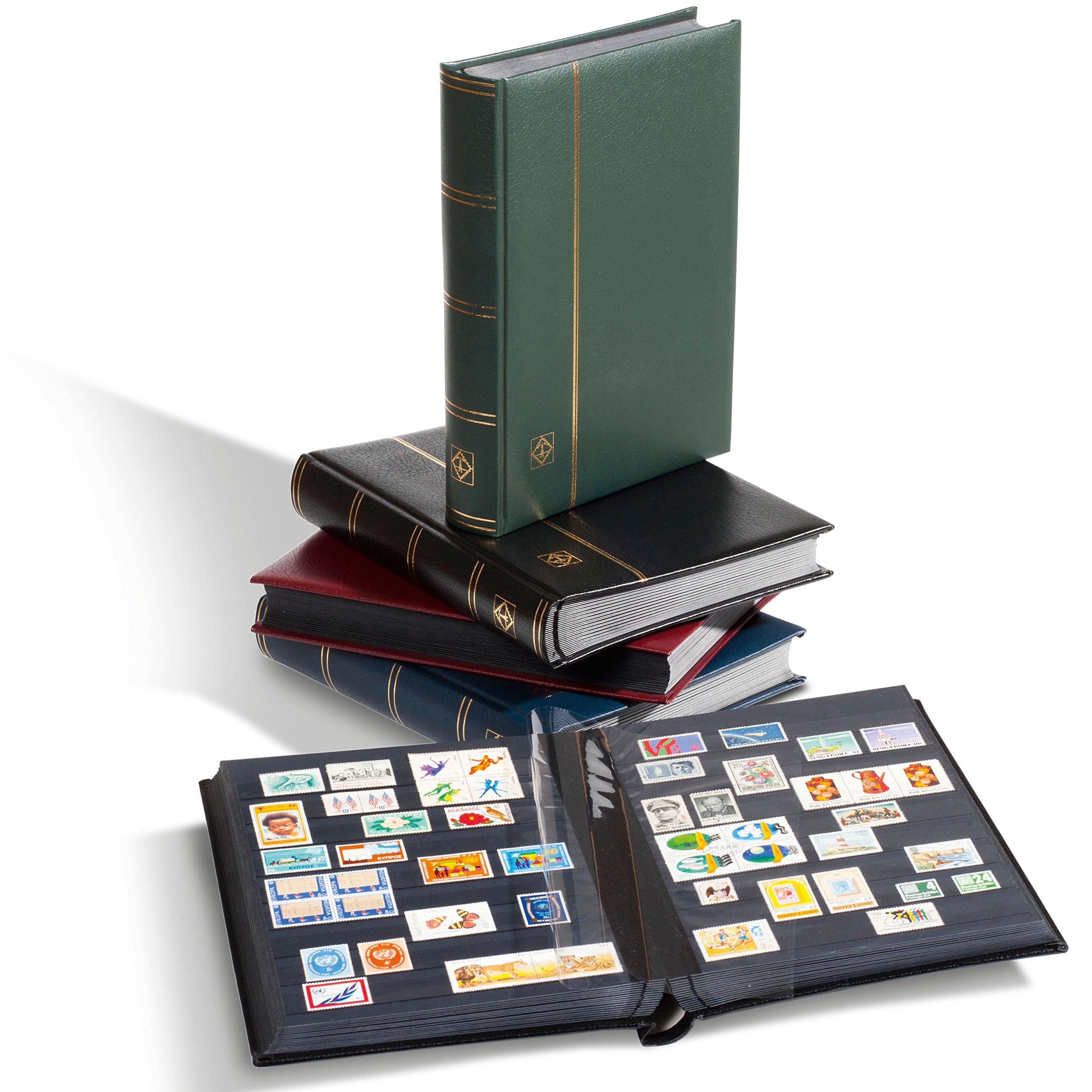 Lighthouse 64-Black Page Leather Stamp Stockbook LZS4/32N Black