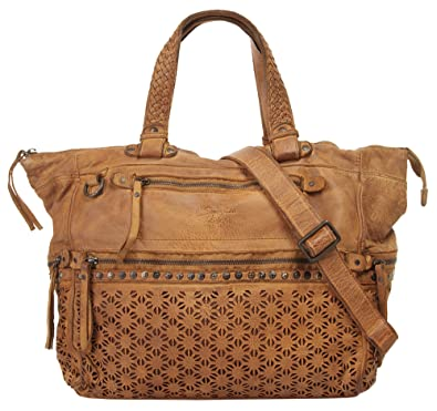 3d7e9c3a1eb96 Samantha Look Shopper Echt Leder cognac Damen - 019546  Amazon.de ...
