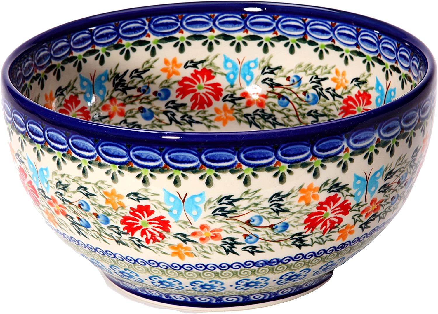 Polish Pottery Ceramika Boleslawiec Bowl Cups, Royal Blue Patterns with Red Cornflower and Blue Butterflies Motif, 5-1/4-Inch
