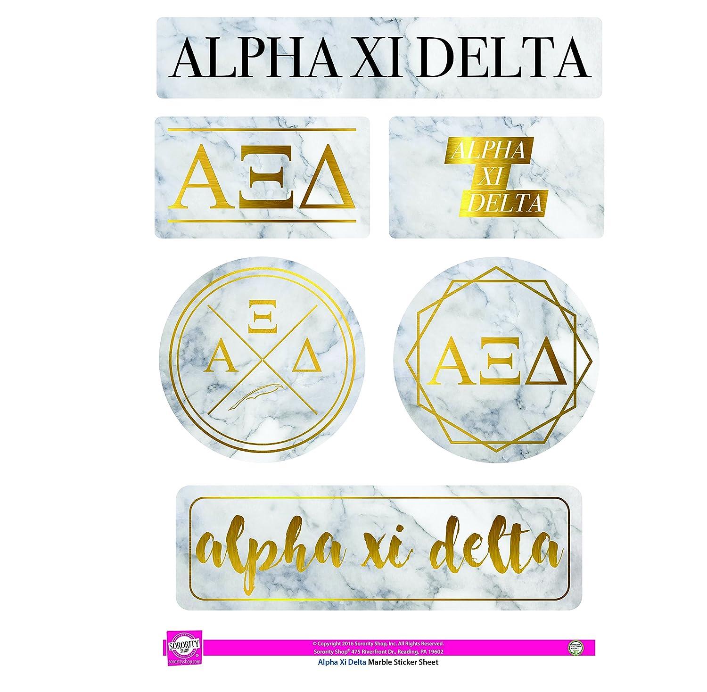 Amazon Alpha Xi Delta Sticker Sheet Marble Theme