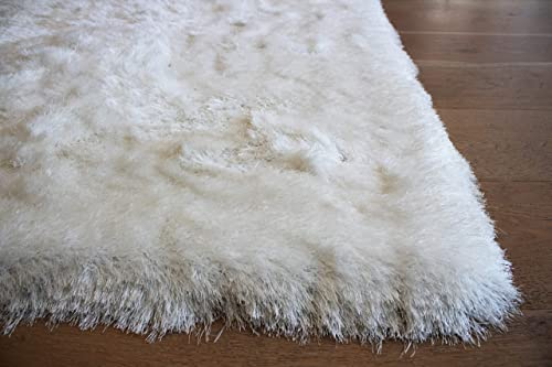 5x7 Feet Large Snow White Pure White Color Modern Contemporary Furry Fuzzy Soft Thick Plush Large Solid Patterned Bedroom Living Room Polyester Made Area Rug Carpet Rug Hand Woven Decorative Designer