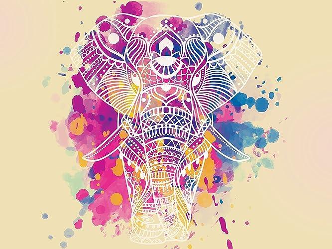 Amazon Com Large Watercolor Elephant Artistic Wall Art