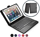 9 - 10.1'' inch tablet keyboard case, COOPER INFINITE EXECUTIVE 2-in-1 Wireless Bluetooth Keyboard Magnetic Leather Travel Windows Android Carrying Cases Cover Holder Folio Portfolio + Stand (Black)