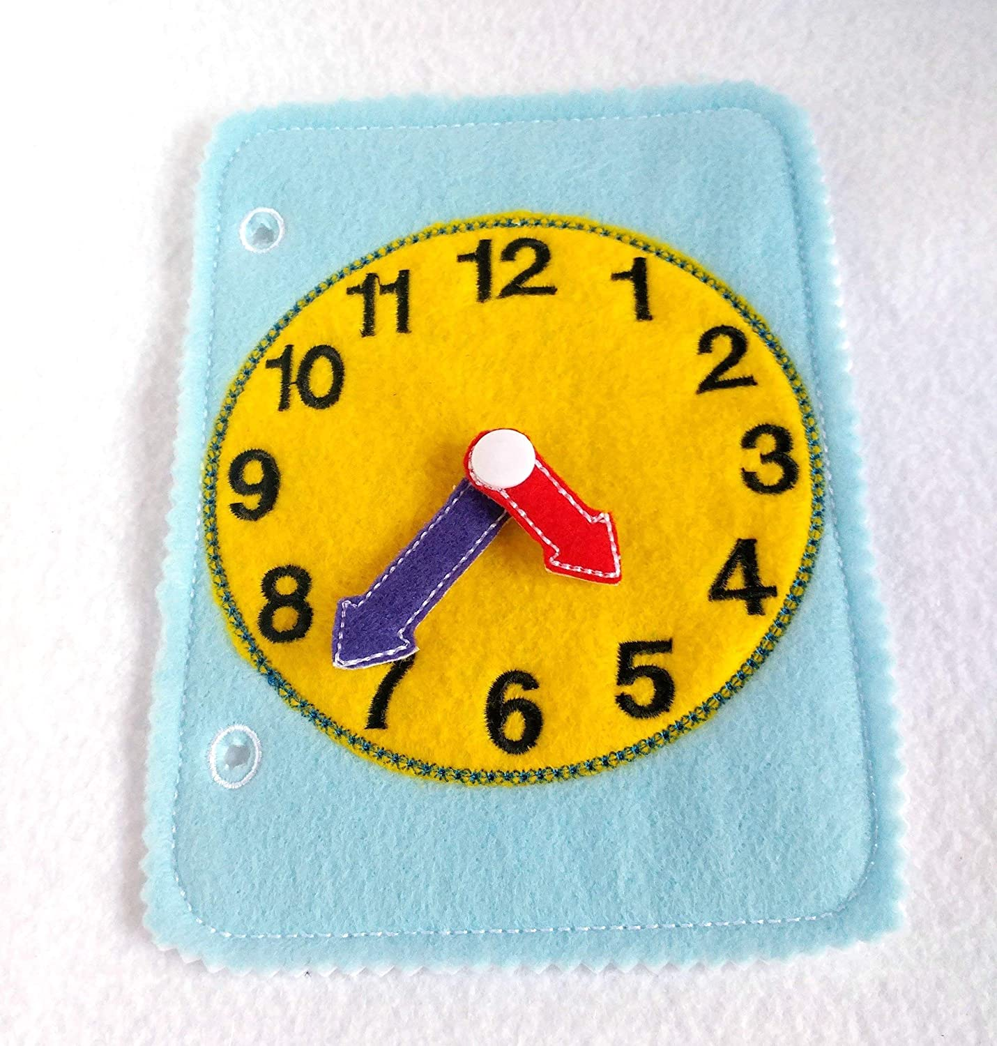 Learn to tell time toddler quiet book page felt busy book QB149