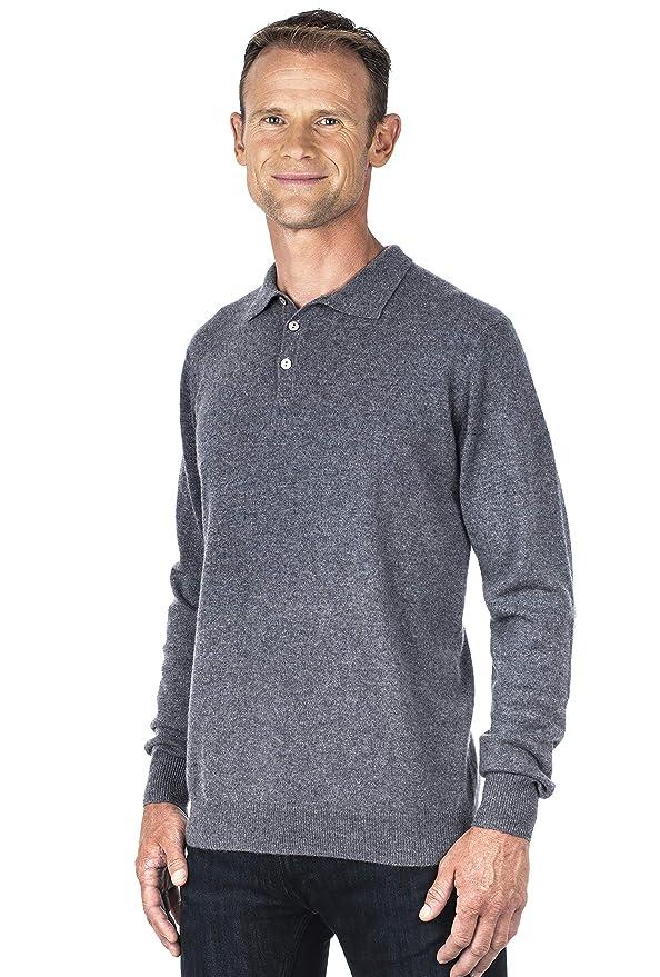Ugholin Jersey 100% Cashmere Cuello Polo para Hombre: Amazon.es ...