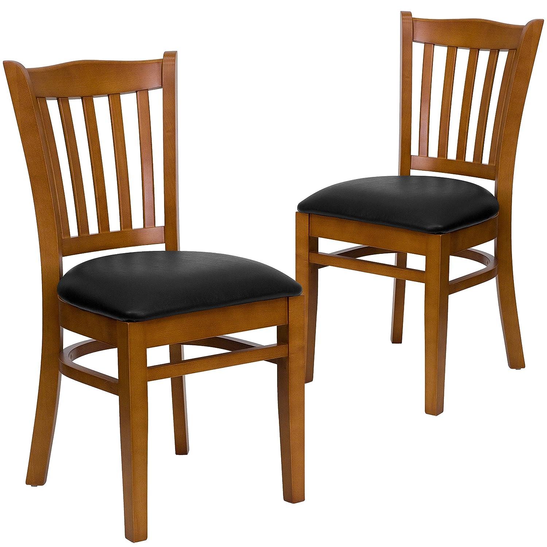 Black Vinyl Seat Cherry Wood Frame 2 Pack Flash Furniture 2 Pk. HERCULES Series greenical Slat Back Natural Wood Restaurant Chair - Black Vinyl Seat