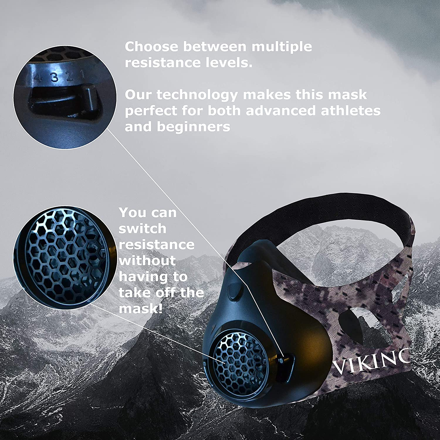 High Altitude Elevation Mask for Air Resistance Training Vikingstrength New 24 Levels Training Workout Mask for Running Biking MMA Endurance with Adjustable Resistance