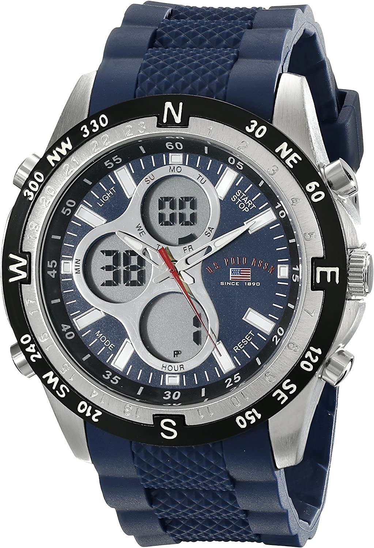 U.S. Polo Assn. Sport Men's US9137 Blue Silicone Analog Digital Sport Watch