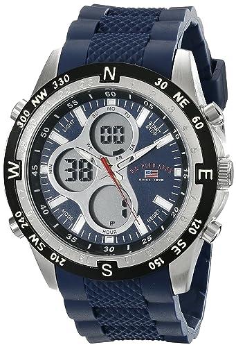 U.S. Polo Assn. Sport Men s US9137 Blue Silicone Analog Digital Sport Watch