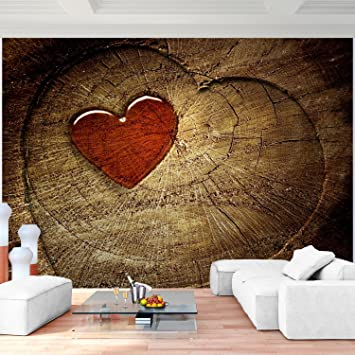 Fototapete Holz Herz Vlies Wand Tapete Wohnzimmer Schlafzimmer Büro Flur  Dekoration Wandbilder XXL Moderne Wanddeko