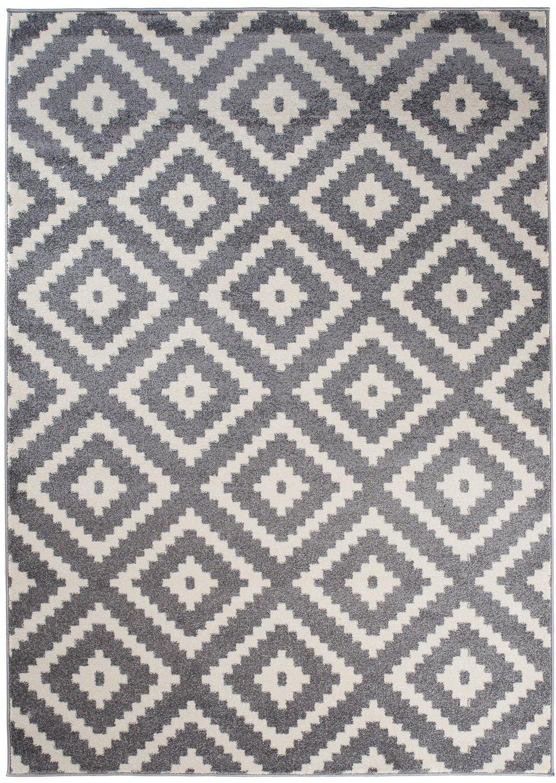 Tapiso MAROKO Teppich Kurzflor Modern Designer Geometrisch Diamant Karo Viereck Muster Grau Creme Schlafzimmer Wohnzimmer ÖKOTEX 200 x 290 cm