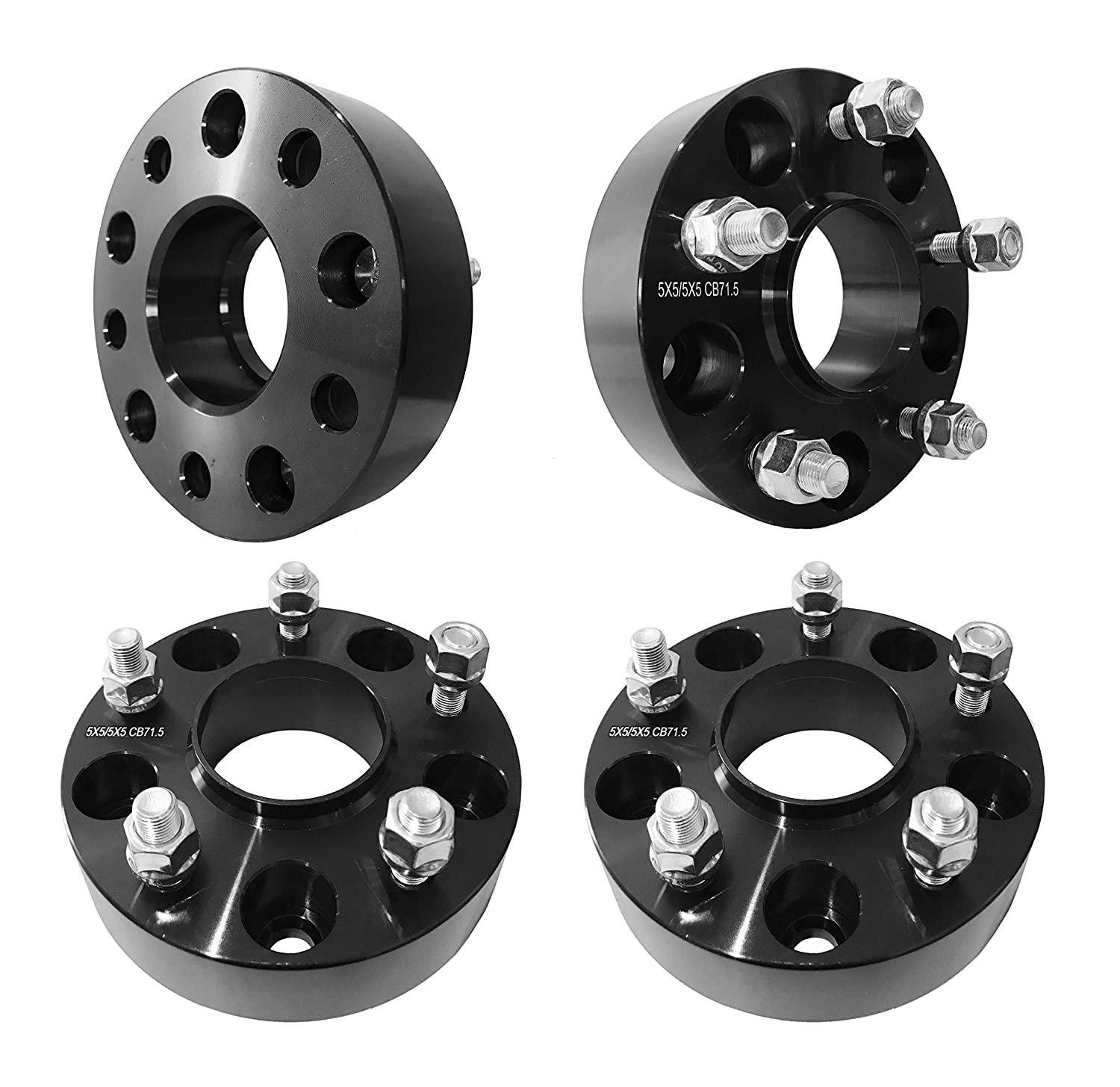 5x5 Hubcentric Wheel Spacers 1.5' inch (38mm) For JK Jeep Wrangler, XK Commander, WJ WK Grand Cherokee (71.5mm bore, 1/2'-20 Studs) (Black) (4 Pieces) 1/2-20 Studs) (Black) (4 Pieces) FAS Motorsports