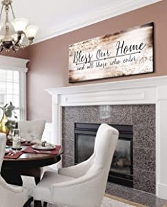 Sense of Art | Bless Our Home Quote | Wood Framed Canvas | Ready to Hang Family Wall Art for Home and Kitchen Decoration