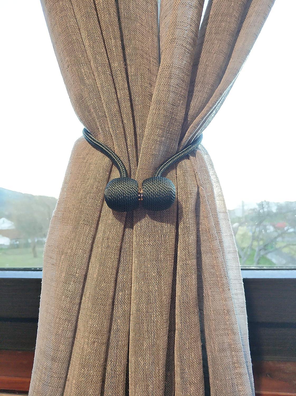 MARKET07 Abrazadera para Cortina - Bolas con imán para Sujetar Las Cortinas de Diferentes Formas - Set de 2 Cuerdas (Azul Verdoso): Amazon.es: Hogar