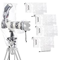 Movo (5 Pack) RC2 Clear Rain Cover for DSLR Camera, Flash, and Lens up to 46cm Long