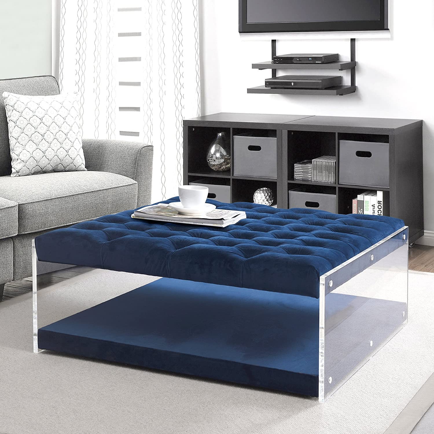 competitive price 16d3b 655a6 Inspired Home Audrey Blue Velvet Acrylic Ottoman - Cocktail Coffee Table    Square Tufted   Nailhead
