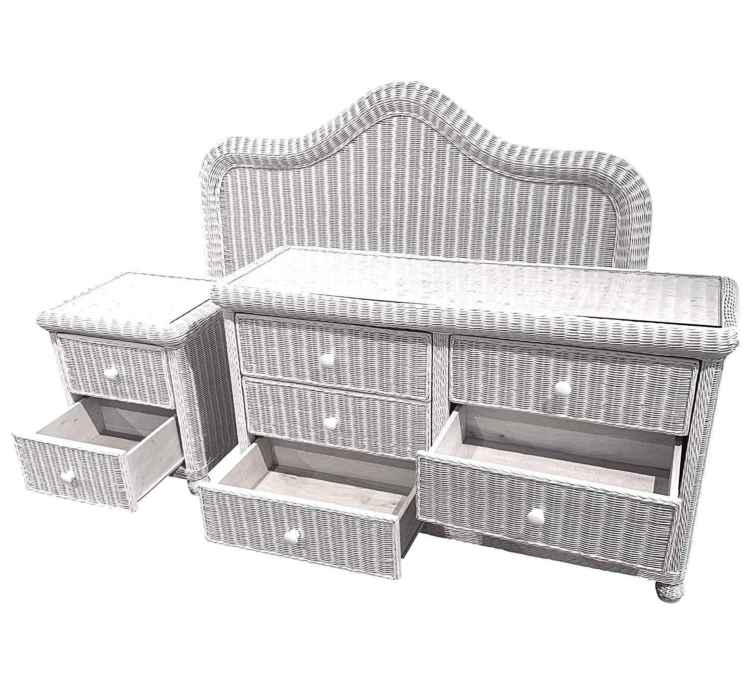 Amazon.com: White Wicker Bedroom Set of 3 (King Headboard ...