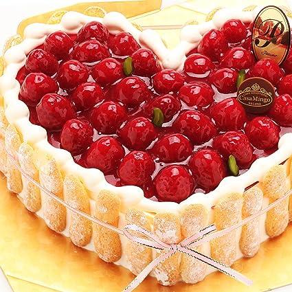 pretty nice 7297a 86ab4 洋菓子店カサミンゴー 最高級洋菓子 特注ハート型シュス木苺レアチーズケーキ (20cm)