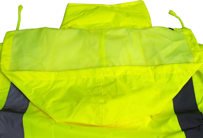 RK Safety Class 3 Rain Suit Jacket Pants High Visibility Reflective Black Bottom RW-CLA3-LM11 2XL, Lime