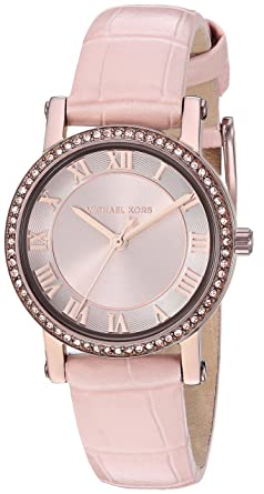 75e93c5b0e06 Michael Kors Women s Norie Stainless Steel Analog-Quartz Watch with Leather  Calfskin Strap