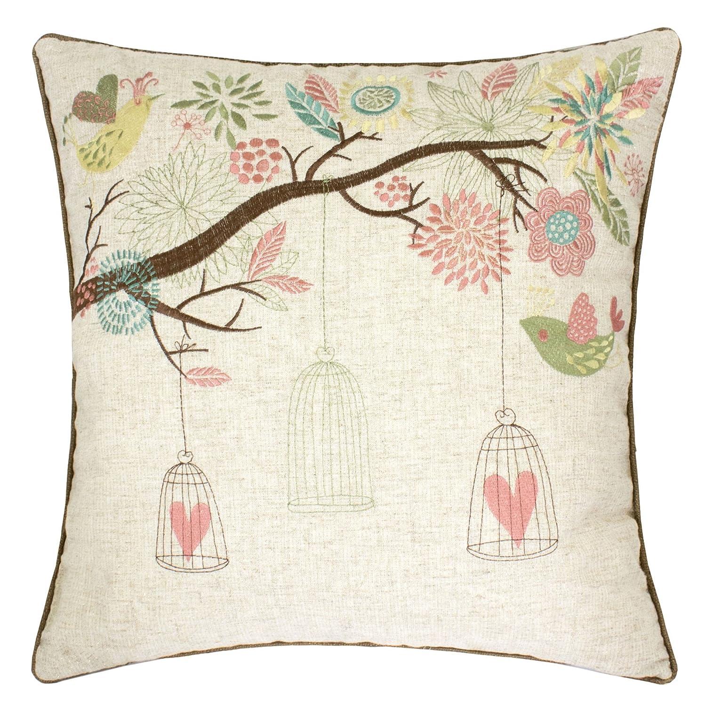 Amazon Com Homey Cozy Embroidered Linen Throw Pillow Cover