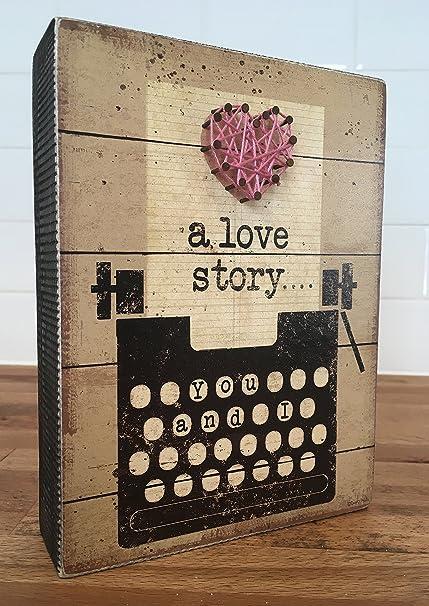 """Caja de madera signo """"una historia de amor... Tú y Yo"""""""