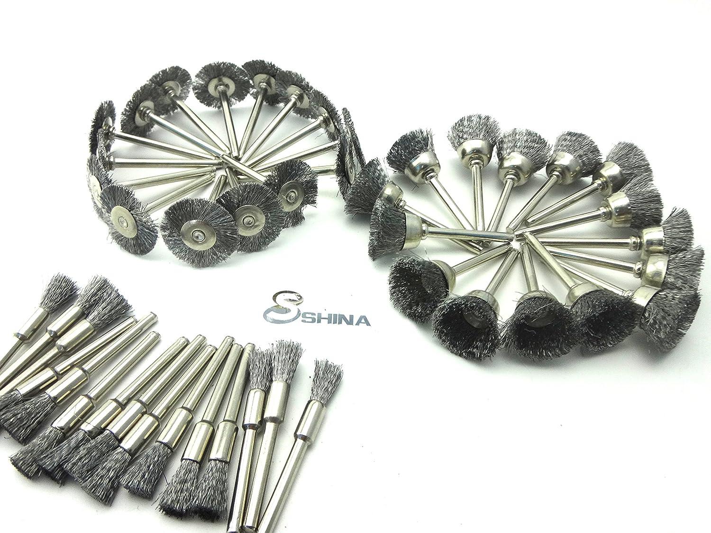 Shina 45/PC en fil dacier Roue brosses pour accessoires Dremel outils rotatifs Vernis