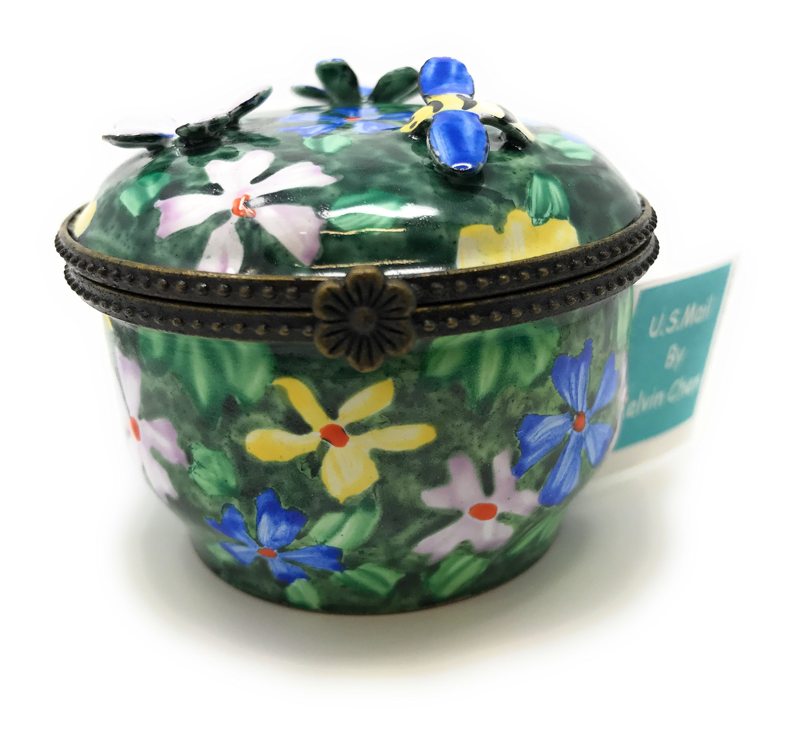 Kelvin Chen Enameled Postage Stamp Dispenser - Floral with 3-D Flowers and Bumble Bee, 2.25 Round by Kelvin Chen