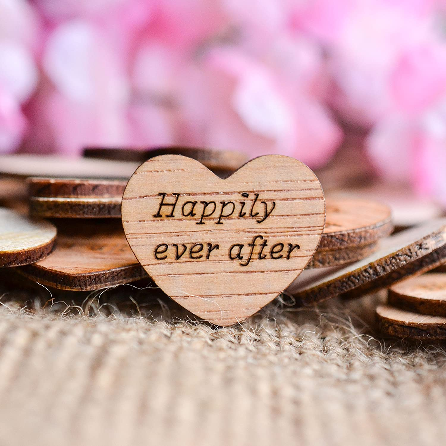 Amazon.com: Happily Ever After Wood Heart Confetti 1\